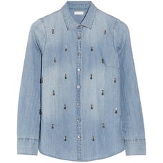 J.Crew Embellished chambray shirt ($83) ❤ liked on Polyvore featuring tops, blouses, shirts, blusas, blue, long sleeved, long sleeve tops, long-sleeve shirt, lightweight chambray shirt and shirt blouse