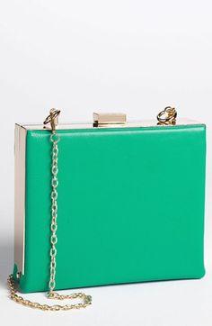 Natasha Couture Box Clutch Green
