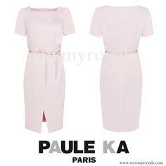Swedish Princess Sofia wore PAULE KA Crepe Satin Dress. www.newmyroyals.com