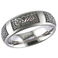 Beautiful Knotted Animal Engraved Titanium Ring Celtic Titanium Wedding Bands Pinterest