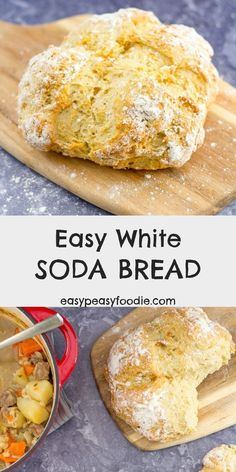 Mar 2019 - Make delicious, crusty white bread in under 40 minutes – with no kneading, or proving! My Easy White Soda Bread is super simple to make and only uses 4 ingredients! Wonderful eaten just as it is or as an accompaniment to soups and stews. Recipe For Soda Bread, Bread Recipes, Baking Recipes, Tofu Recipes, Soda Bread Without Buttermilk, Bread Without Yeast, Irish Recipes, Scottish Recipes, Easy Bread
