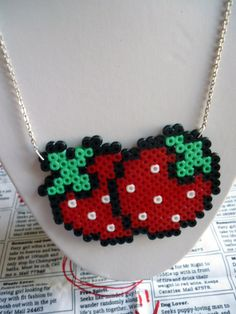Hama Bead Red Strawberries Necklace