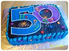 """50th Birthday - 9x13-inch cake for 50th birthday party. Design based on """"The Party Continues"""" party supplies theme."""