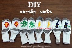 Might have to do this for E's pajamas.  They don't make no-slip pjs until 12 month size but she is ready for them now.