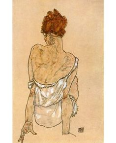 EGON SCHIELE SEATED WOMAN LEGS DRAWN UP ELE HERMS Painting Canvas art Prints