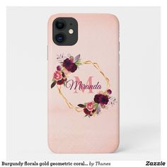 Shop Burgundy florals gold geometric coral monogram Case-Mate iPhone case created by Thunes. Iphone 11, Apple Iphone, Iphone Cases, Iphone Accessories, Monogram Letters, Plastic Case, Florals, Burgundy, Christmas Gifts