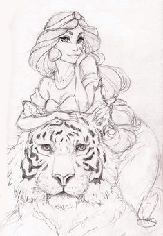 Princess Jasmine with Rajah - Sketch. (Princezna Jasmína a Rjah - Skica. Disney Pixar, Disney Rapunzel, Disney Animation, Disney And Dreamworks, Disney Art, Punk Disney, Disney Ideas, Disney Princess, Disney Sketches