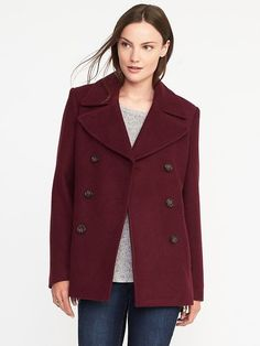 Classic Wool-Blend Peacoat for Women