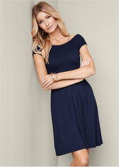 Alternate View Smocked Dress, medium, navy