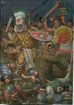Aztec warriors wiping out a group of Spaniards. Aztecas Art, Aztec Empire, Latino Art, Ancient Aztecs, Native American Warrior, Aztec Culture, Aztec Warrior, Inka, Indigenous Art