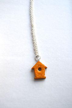 Yellow polka dot bird house necklace birdhouse by WishlistArt