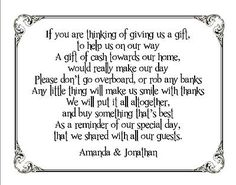 10 Personalised Wedding Money Request Small Cards - Black Frame - Funny Poem
