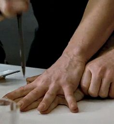 I felt myself stiffen. He did this on purpose. He was trying to be all tough. He was trying to show me that he was in control. I watched in fear as he moved the knife side to side, in between our fingers. ((Open RP for guy))