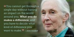 biology quotes Truth / words for inspiration / motivation / Jane Goodall I want to make people Jane Goodall, Wisdom Quotes, Quotes To Live By, Life Quotes, Quotable Quotes, Cool Words, Wise Words, Wise Sayings, Feral Heart