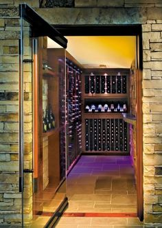 A contemporary wine cellar with mood lighting!