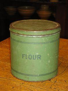 Vintage Tin Canister  Flour by kittredgemercantile on Etsy, $28.00