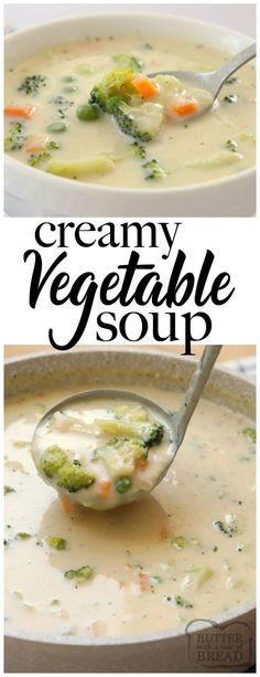 Creamy Vegetable Soup made easy in 30 minutes or less! Simple, flavorful & comforting vegetable soup recipe perfect for cold nights. Time saving tips included too! Simple from Butter With soup healthy recipes rezepte soup soup Creamy Vegetable Soups, Vegetable Soup Healthy, Vegetable Soup Recipes, Healthy Soup Recipes, Vegetarian Recipes, Cooking Recipes, Frozen Vegetable Soup Recipe, Time Saving, Saving Tips