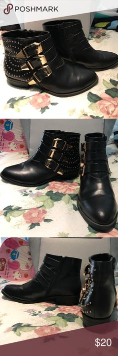 Black Gold Studded Ankle Booties Black faux leather boots with gold stud detailing and gold buckles. I've worn them out a couple of time so there are a couple of small scratches on the toes but they're in relatively good condition! They're quite comfy and are a true size 8 lengthwise though have a bit of a wider fit on the sides. Shoes Ankle Boots & Booties