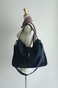 Christmas in July Sale - Ashley in navy blue // Messenger / Diaper bag / Tote / Purse /  Handbag / Shoulder bag / Women / For her