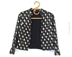 Items similar to blazer, diamond print blazer, black and gold blazer, vintage blazer, retro blazer on Etsy Printed Blazer, Polka Dot Top, Vintage Outfits, Diamond, Trending Outfits, Sweaters, Etsy, Shopping, Tops