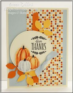 handmade Thanksgiving card from Inkspired Treasures ... bright Autumn colors ... punched leaves match patterned paper panel ... luv the use of pumpkin image cut from printed paper ... decoupage technique ... Stampin' Up!