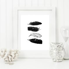 Feather watercolor printable art minimal print black and white wall decor Feathers wall art poster instant digital print by on Etsy Black And White Posters, Black And White Wall Art, Black White, Feather Wall Art, White Wall Decor, Minimalist Art, Watercolor Print, As You Like, Printable Wall Art