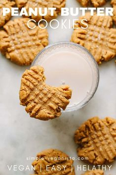 Full of peanut butter taste, vegan peanut butter cookies are easy to make and easier to eat! Made in 1 bowl, these homemade cookies are soft, thick and chewy. Homemade Peanut Butter Cookies, Peanut Butter Cookie Recipe, Peanut Butter Recipes, Healthy Dessert Recipes, Vegan Recipes Easy, Vegan Desserts, Vegan Meals, Vegan Food, Crispy Cookies