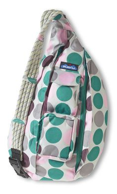 KAVU Rope Sling-Sweet Dots-100% Polyester. The KAVU Rope Bag's fraternal twin the only difference is the fabric. Adjustable rope shoulder strap, two vertical zip compartments, two zip key/phone pockets, padded back with KAVU embroidery and ergonomic design to fit the body like a bag should.