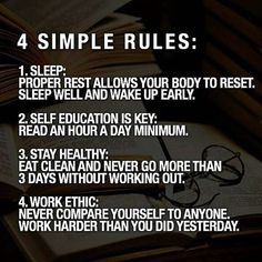 4 Simple Rules of Life: Sleep, Self Education, Stay Healthy, Work Ethic. Vie Motivation, Study Motivation Quotes, Business Motivation, Business Quotes, Motivation Inspiration, Student Motivation, Business Ideas, Wisdom Quotes, Quotes To Live By