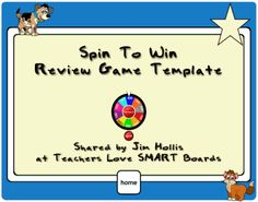 Notebook game review template called Spin To Win for teachers who have a SMART Board in their classroom.