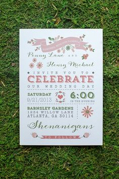 Wedding Invitation / / Rustic & Modern Garden Wedding Invitation / / Pink and Green Flowers