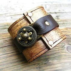 Hey Ladies Steampunk Leather Cuff with Secret by sewlutionsbyamo, $80.00
