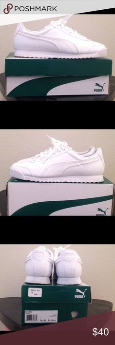 bf69e4a1fa42 Shop Men s Puma White size Athletic Shoes at a discounted price at  Poshmark. Description  All white leather men s Puma Roma sneakers.