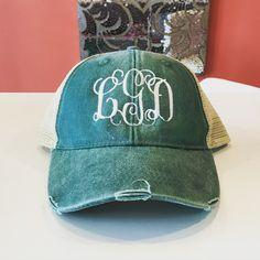 Monogrammed Distressed Trucker Hat Baseball Caps 41b73d0917e0