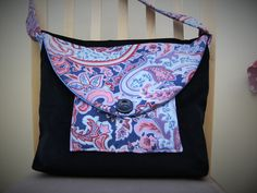 Fabric Bag with a strong black cotton velvety background and blue and coral Paisley Flap, Pockets and Strap by dorotheasdesign on Etsy