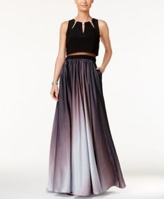 Betsy & Adam Ombré Two-Piece A-Line Gown