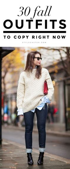 30 Fall Street Style Outfits to Copy ASAP | Textured warm sweater layered over a chambray shirt, styled with cuffed skinny jeans and pointy toe ankle boots. | @StyleCaster