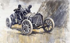 Gallery of artist Yuriy Shevchuk: 1908 Targa Floria Isotta Fraschini Motorcycle Art, Airbrush Art, Automotive Art, Car Painting, Sports Art, Vintage Racing, Illustrations, Art Pages, Beautiful Paintings