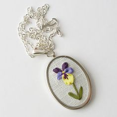 Violet necklace February birthday gift botanical by bstudio
