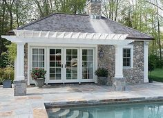#BPHloves this #poolhouse featuring #stone #white #windowsanddoors and an #pergola by #cobblecourtinteriors ✔️