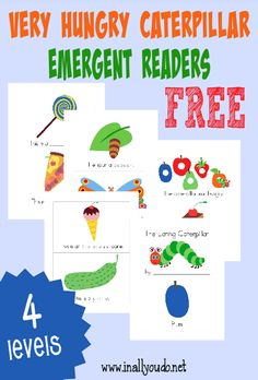 """Celebrate """"The Hungry Caterpillar"""" Day, March 20, with these fun and FREE Hungry Caterpillar Emergent Readers! 4 levels in both color & black and white :: www.inallyoudo.net"""