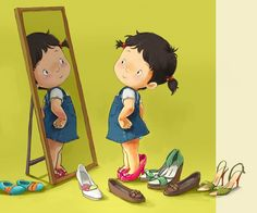 illustration by Kim Dong-Hoon. she is wearing mommy's shoes, this reminds me of me when growing up. Buch Design, Mo S, Children's Book Illustration, Cute Drawings, Cute Art, Childrens Books, Illustrators, Art For Kids, Little Girls