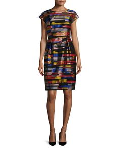 Cap-Sleeve Brushstroke-Print Dress, Multi Colors, Women's, Size: 14/44 - Escada