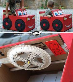 DIY Cardboard Box Car pre k box car day.