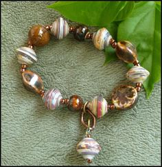 Paper Beaded Bracelet -Shades of Brown -Rolled Paper Beads - Clay Beads - Handcrafted Haitian Jewelry - Rolled Paper Jewelry - P-202-BR