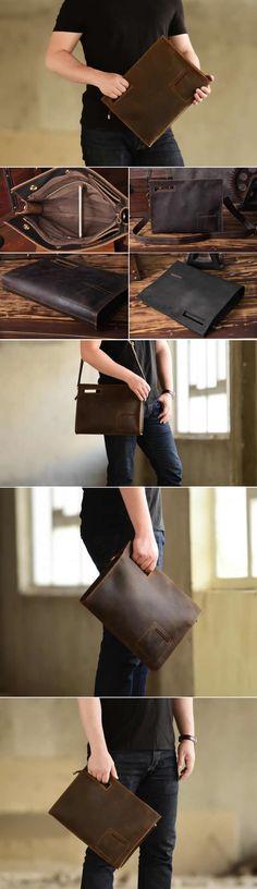 Leather Business Travel Portfolio Briefcase Macbook Laptop Clutch Bag Shoulder Bags A4 Paper File Document Organizer