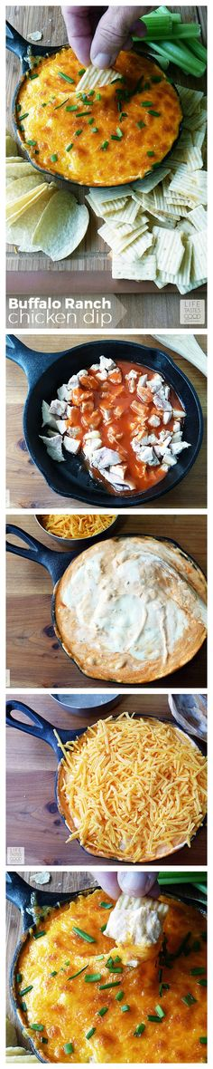 Buffalo Ranch Chicken Dip | by Life Tastes Good is a tangy, creamy dip that tastes like Buffalo Chicken Wings and ranch dressing all mixed into one delicious dip! This dip is super easy to make and a must for the Big Game