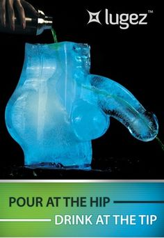 Pour at the Hip & Drink at the Tip. Lugez Ice Luge Iceman is sure to please your party guests. Use for bachelorette parties, adult parties, or use him at school to teach anatomy.