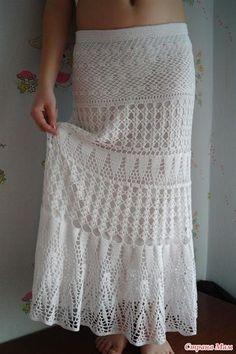 Вязанная длинная белая ажурная юбка