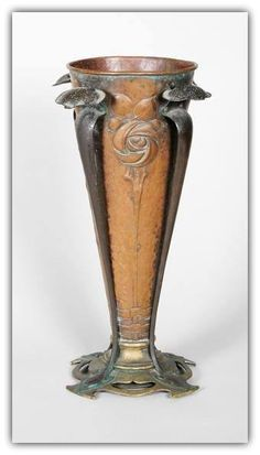 Art Nouveau Copper and Brass Mounted Vase, ca.1900 | JV